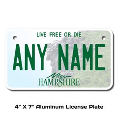 Personalized New Hampshire 4 X 7 License Plate