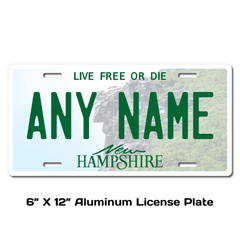 Personalized New Hampshire 6 X 12 License Plate