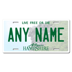 Personalized New Hampshire License Plate for Bicycles, Kid's Bikes, Carts, Cars or Trucks