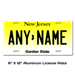 Personalized New Jersey 6 X 12 License Plate