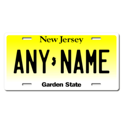 Personalized New Jersey License Plate for Bicycles, Kid's Bikes, Carts, Cars or Trucks