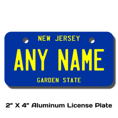 Personalized New Jersey 2 X 4 License Plate