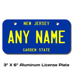 Personalized New Jersey 3 X 6 License Plate