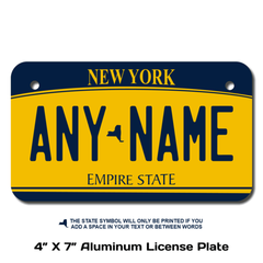 Personalized New York 4 X 7 License Plate