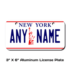 Personalized New York 3 X 6 License Plate