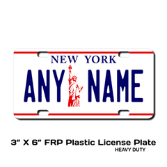 Personalized New York 3 X 6 Plastic License Plate