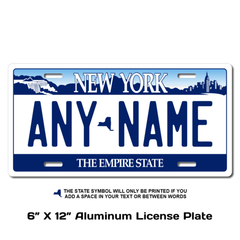 Personalized New York 6 X 12 License Plate