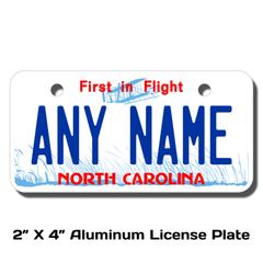 Personalized North Carolina 2 X 4 License Plate