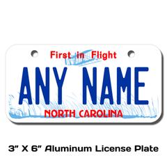 Personalized North Carolina 3 X 6 License Plate