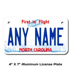Personalized North Carolina 4 X 7 License Plate