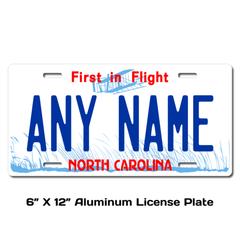 Personalized North Carolina 6 X 12 License Plate