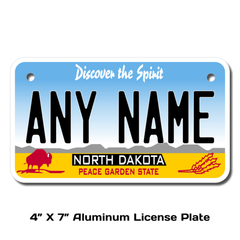 Personalized North Dakota 4 X 7 License Plate