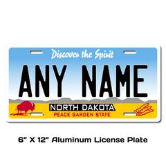 Personalized North Dakota 6 X 12 License Plate