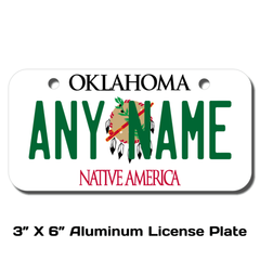Personalized Oklahoma 3 X 6 License Plate