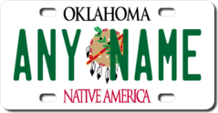 Personalized Oklahoma License Plate for Bicycles, Kid's Bikes, Carts, Cars or Trucks
