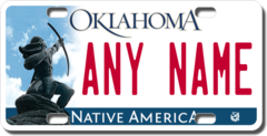 Personalized Oklahoma License Plate for Bicycles, Kid's Bikes, Carts, Cars or Trucks Version 2