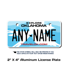 Personalized Oklahoma 2 X 4 License Plate