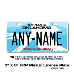 Personalized Oklahoma 3 X 6 Plastic License Plate