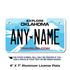 Personalized Oklahoma 4 X 7 License Plate