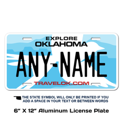 Personalized Oklahoma 6 X 12 License Plate