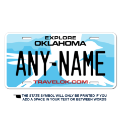 Personalized Oklahoma License Plate for Bicycles, Kid's Bikes, Carts, Cars or Trucks Version 3
