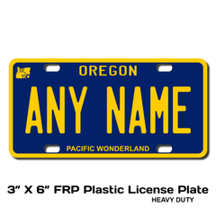 Personalized Oregon 3 X 6 Plastic License Plate