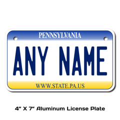 Personalized Pennsylvania 4 X 7 License Plate