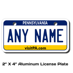 Personalized Pennsylvania 2 X 4 License Plate
