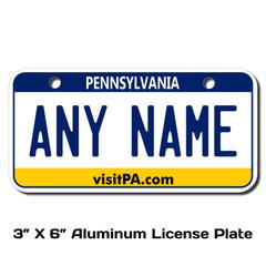 Personalized Pennsylvania 3 X 6 License Plate