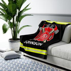 Fire Department Personalized Sherpa Fleece Blanket - Warm Cozy Personalized - Free Shipping