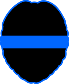 Reflective Blue Line Decal Badge Shape 1