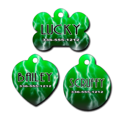Personalized Green Lightening Background Pet Tag for Dogs and Cats