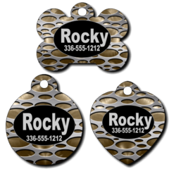 Personalized Metal Background Pet Tag for Dogs and Cats