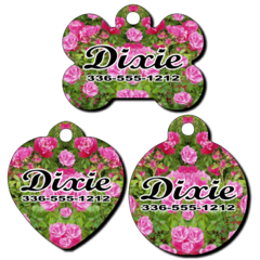 Personalized Pink Flowers Background Pet Tag for Dogs and Cats