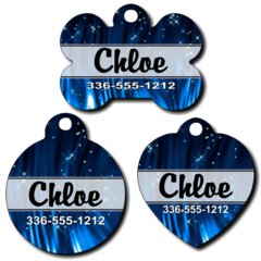 Personalized Blue Sparkles Pet Tag for Dogs and Cats