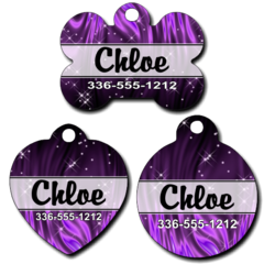 Personalized Purple Sparkles Pet Tag for Dogs and Cats
