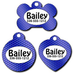 Personalized Blue Wire Pet Tag for Dogs and Cats