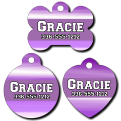 Personalized Purple Pet Tag for Dogs and Cats