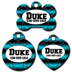 Personalized Blue Barbwire Pet Tag for Dogs and Cats