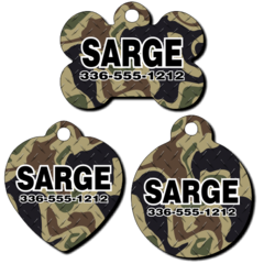 Personalized Woodland Camo Background Pet Tag for Dogs and Cats