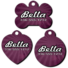 Personalized Purple Sunburst Background Pet Tag for Dogs and Cats