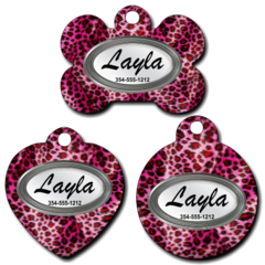 Personalized Pink Cheetah Background Pet Tag for Dogs and Cats