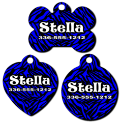 Personalized Blue Zebra Background Pet Tag for Dogs and Cats
