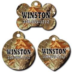 Personalized Leaf/Tree Camouflage Pet Tag for Dogs and Cats