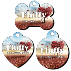 Personalized Heart Shaped Tree Background Pet Tag for Dogs and Cats