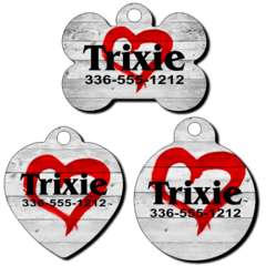 Personalized Heart Background Pet Tag for Dogs and Cats