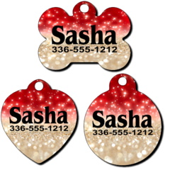 Personalized Red and Gold Sparkles Background Pet Tag for Dogs and Cats