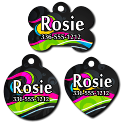 Personalized Colorful Swirl Design Pet Tag for Dogs and Cats