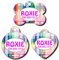 Personalized Plaid Pattern Pet Tag for Dogs and Cats
