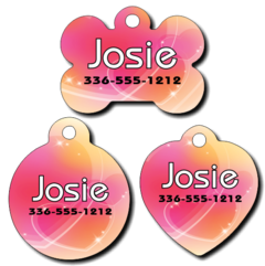 Personalized Outlined Hearts Pet Tag for Dogs and Cat